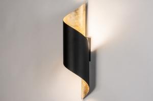 wandlamp 13969 landelijk rustiek modern eigentijds klassiek metaal zwart mat goud
