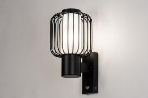 wandlamp 13970 landelijk rustiek eigentijds klassiek kunststof acrylaat kunststofglas metaal zwart mat wit mat