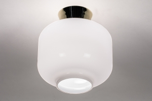 plafondlamp 13972 design modern retro eigentijds klassiek art deco glas wit opaalglas messing wit glans messing