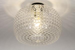 plafondlamp 13973 design landelijk rustiek retro klassiek eigentijds klassiek art deco glas helder glas messing messing