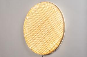 wandlamp 13975 design landelijk rustiek retro eigentijds klassiek art deco riet naturel rond