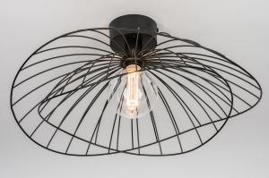 plafondlamp 13978 design landelijk rustiek modern eigentijds klassiek metaal zwart mat