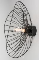 plafondlamp 13978 design landelijk rustiek modern eigentijds klassiek metaal zwart mat rond