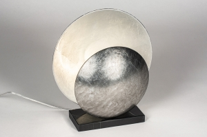 tafellamp 13979 design landelijk rustiek klassiek eigentijds klassiek marmer metaal zwart zilver  oud zilver rond