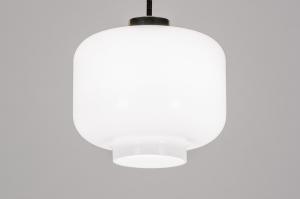 hanglamp 13980 design landelijk rustiek modern art deco glas wit opaalglas metaal wit messing