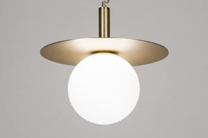 hanglamp 13981 sale design landelijk rustiek eigentijds klassiek art deco glas wit opaalglas metaal wit mat messing