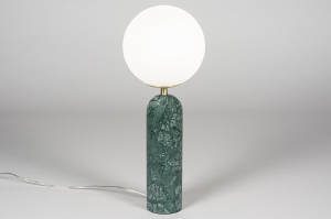 tafellamp 13986 design modern glas wit opaalglas marmer groen
