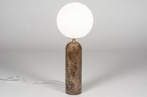 tafellamp 13987 sale design modern glas wit opaalglas marmer bruin