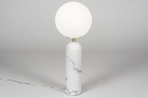 tafellamp 13988 sale design modern glas wit opaalglas marmer wit
