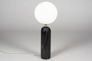 tafellamp 13989 sale design modern glas wit opaalglas marmer zwart
