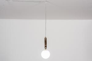 hanglamp 13991 design landelijk rustiek modern eigentijds klassiek messing marmer bruin messing