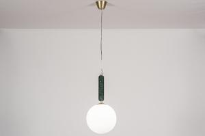 hanglamp 13994 design art deco glas wit opaalglas messing marmer metaal groen