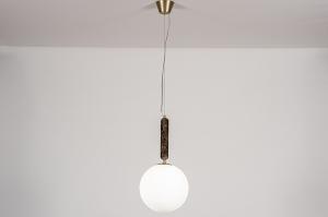 hanglamp 13995 design art deco glas wit opaalglas messing marmer metaal bruin