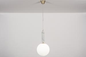 hanglamp 13996 design eigentijds klassiek art deco glas wit opaalglas messing geschuurd marmer metaal wit grijs messing