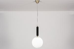 hanglamp 13997 design art deco glas wit opaalglas messing marmer metaal zwart