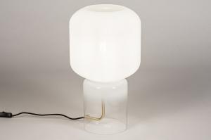 tafellamp 13998 design modern glas wit opaalglas helder glas metaal zwart wit messing