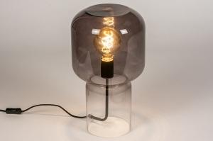 tafellamp 13999 design modern glas helder glas metaal zwart mat