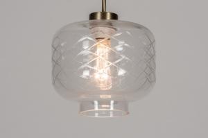 hanglamp 14002 design landelijk rustiek modern art deco glas helder glas metaal messing