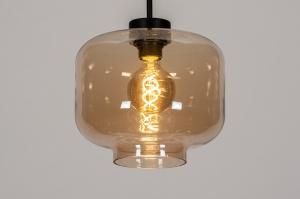hanglamp 14003 design landelijk rustiek modern art deco glas metaal zwart mat bruin geel
