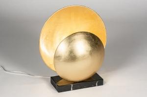tafellamp 14006 design landelijk rustiek klassiek eigentijds klassiek marmer metaal zwart brons rond