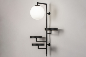 wandlamp 14008 modern glas wit opaalglas metaal zwart mat rond langwerpig