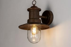 wandlamp 14011 landelijk rustiek klassiek eigentijds klassiek metaal roest bruin brons lantaarn