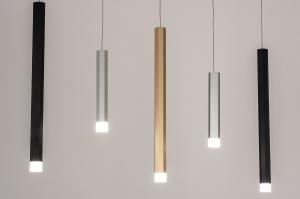 Pendelleuchte 14016 Design modern Edelstahl Messing Kunststoff Metall schwarz matt weiss matt Matt Messing stahlgrau laenglich