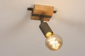 spot 14020 industrie look modern stoer raw hout metaal staalgrijs