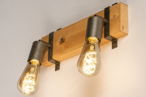 plafondlamp 14021 industrie look modern stoer raw hout metaal staalgrijs