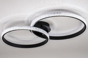 plafondlamp 14022 landelijk rustiek klassiek eigentijds klassiek kunststof metaal zwart mat