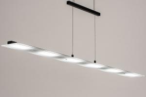 hanglamp 14023 design modern glas mat glas metaal zwart mat langwerpig