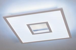 plafondlamp 14025 modern kunststof acrylaat kunststofglas metaal wit mat vierkant
