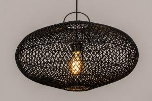 hanglamp 14042 modern retro riet zwart mat rond