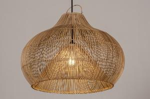Pendelleuchte 14043 modern Retro Schilf Holz Naturfarbe rund