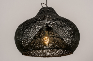 hanglamp 14044 sale modern retro riet zwart mat rond