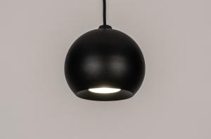hanglamp 14055 modern retro eigentijds klassiek art deco metaal zwart mat rond