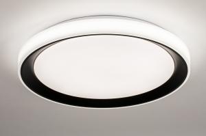 plafondlamp 14071 modern kunststof zwart mat wit mat rond