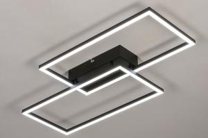 plafondlamp 14072 design modern kunststof metaal zwart mat wit mat rechthoekig