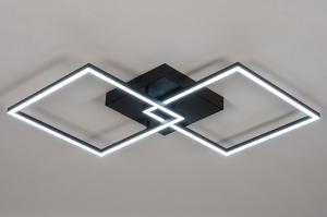 plafondlamp 14073 design modern kunststof metaal zwart mat wit mat vierkant