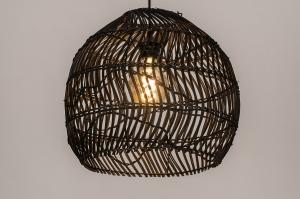 hanglamp 14074 sale landelijk rustiek modern eigentijds klassiek art deco riet zwart mat
