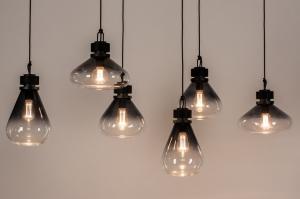 hanglamp 14080 industrie look landelijk rustiek modern stoer raw eigentijds klassiek glas metaal zwart mat grijs langwerpig