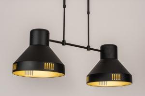 hanglamp 14086 industrie look modern stoer raw metaal zwart mat goud