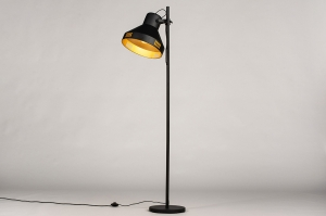 vloerlamp 14087 landelijk rustiek modern stoer raw eigentijds klassiek metaal zwart mat goud