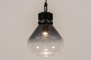 hanglamp 14088 industrie look modern stoer raw glas metaal zwart grijs transparant kleurloos