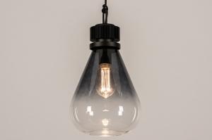 hanglamp 14089 industrie look modern stoer raw glas metaal zwart grijs transparant kleurloos