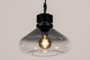 hanglamp 14090 industrie look modern stoer raw glas metaal zwart grijs transparant kleurloos