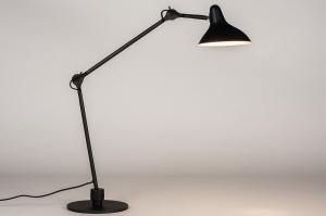 tafellamp 14093 industrie look modern stoer raw metaal zwart mat wit mat