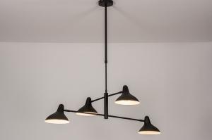 hanglamp 14095 industrie look modern stoer raw metaal zwart mat wit mat
