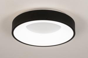 Deckenleuchte 14097 modern Kunststoff Metall schwarz matt weiss matt rund