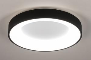 Deckenleuchte 14099 modern Kunststoff Metall schwarz matt weiss matt rund